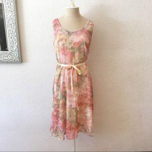 90s - 50s Fit Flare Ribbon Belt Cocktail Dress